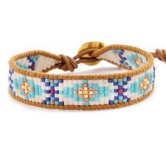 Turquoise Mix Beaded Bracelet on Henna Leather