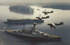 British Royal Navy: HMS Revenge (front) and HMS Furious (back)...