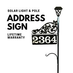 Driveway Address Sign - Double Sided Reflective Address 911 with pole & double scroll and 2 plant hooks with Solar Light Address Sign House Address Sign, Address Signs, Plant Hooks, Emergency Responder, Address Numbers, Home Landscaping, Light Installation, Solar Lights, Metal Signs