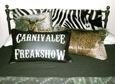 CARNIVALEE FREAKSHOW- painted cushion. Available soon
