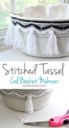 Two fun basket makeovers! Boho Tassel Coil Basket & Stitched & Tasseled Rope Coil Basket! Thrift Store Upcycle Challenge! #repurposeit