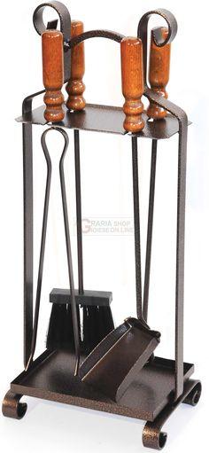 Home Discount ® 4 pièces ASTON Fire Companion Set noir Fireside Cheminée