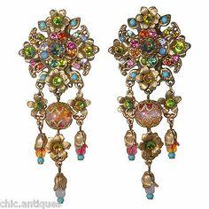 Michal Negrin Multicolor Rhinestone Dangle Flower Clip Earrings $157 50 Retail | eBay