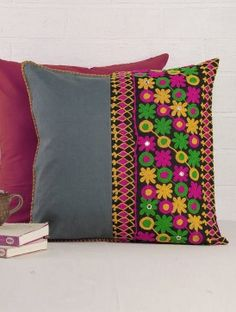 Embroidered Cushion Cover x Cushion Embroidery, Embroidery Works, Embroidered Cushions, Learn Embroidery, Hand Embroidery Designs, Cushion Cover Designs, Cushion Covers, Pillow Covers, Ruffle Pillow