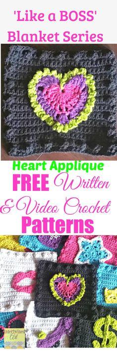 "Free written pattern and video tutorial for a Heart Applique. ""Like a Boss"" Blanket Series Crochet Heart Square Pattern."