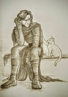 "dearmisskitty: "" Sad Kylo is comforted by Millicent. A request for ""Kylo needing animal therapy"", by @orevet. This was also inspiring because my cat does this when I am sad. Haha"