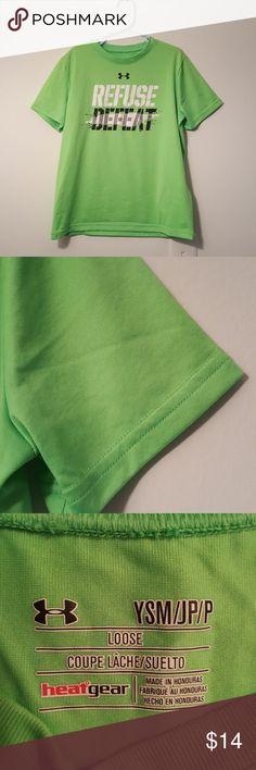 Under Armour kids athletic tee SZ SMALL boys Good condition. Heatgear collection. Lime color. 100% polyester. Sz small boys . Under Armour Shirts & Tops Tees - Short Sleeve