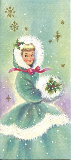 Vintage Christmas Girl Snow Muff Ribbon When I was little, I loved muffs! Vintage Christmas Images, Old Christmas, Old Fashioned Christmas, Vintage Holiday, Christmas Pictures, Christmas Greetings, Christmas Crafts, Christmas Postcards, Christmas Parties