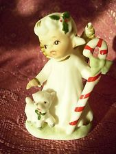 VTG Lefton Christmas Angel Girl Holds Candy Cane & Lamb Sheep w/ O. Tag Figurine