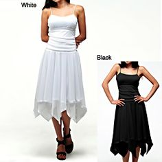 @Overstock - Step out in flirty fashion with one of these delicate romantic dresses from Evanese. The square neckline and spaghetti strap top are separated from the feminine handkerchief skirt by satin tape at the waistline, and the style complements your curves.http://www.overstock.com/Clothing-Shoes/Evanese-Womens-Romantic-Dress/6911598/product.html?CID=214117 $74.99
