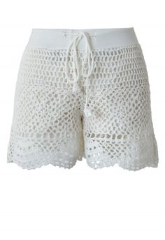 White Handknit Crochet Shorts
