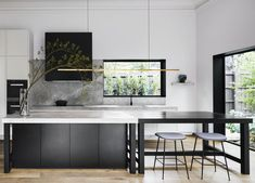Informed by its rich heritage past, Armadale Residence II sees Studio Tate enliven the existing, together with a contemporary aesthetic. Contemporary Kitchen Design, Contemporary Interior, Interior Design Kitchen, Kitchen Decor, Rustic Kitchen, Kitchen Designs, Diy Kitchen, Modern Contemporary, Film Cars