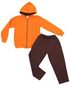 Conjunto moletom masculino infantil na cor laranja e marrom, vem com bordado frontal. Com zíper e capuz.