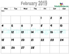 30 Best Free Printable February 2019 Calendar Templates Images