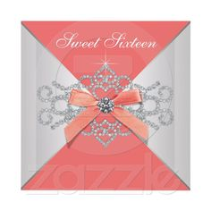 Coral Diamonds Coral Sweet 16 Birthday Party Invitations from Zazzle.com
