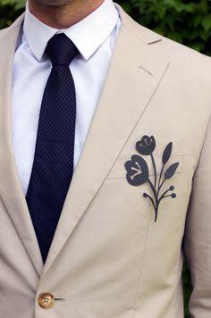 Paper cut flower boutonniere