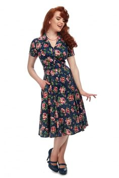 Collectif Vintage Caterina Bloom Floral Swing Dress - Collectif Vintage from Collectif UK