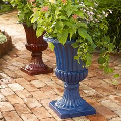 "Featuring a beautiful sandblast finish, these colorful resin planter urns add a bold touch to your outdoor space.    dimensions: 16""D x 21""H  resin wipe clean imported we offer a great range of outdoor living ideas including furniture, cushions & pillows, plus more!     Why Buy? Perfect for our customers with green thumbs, our garden & decor  solutions make for a beautiful yard at prices that fit right into any  budget."