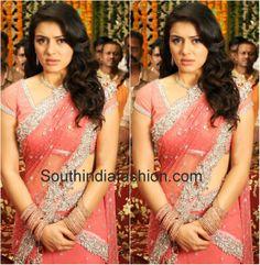 half saree Half Saree Designs, Saree Blouse Designs, Blouse Styles, Wedding Saree Blouse, Saree Dress, Sari, South India, India Fashion, Indian Sarees