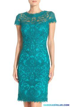 En Dikkat Çeken 2017 Gece Elbiseleri Ve Abiye Modelleri - Dantel işlemeli kısa kollu mavi elbise