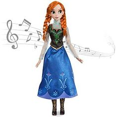 Disney Anna Singing Doll - Frozen | Disney StoreAnna Singing Doll - Frozen - Anna will light up the room with a song and her cool blue glow when you activate her motion-detection. Clad in her signature folk costume, Anna brings music to life For the First Time, each time you command a performance.