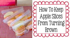 How To Keep Sliced Apples Fresh Longer! I like ginger-ale the best. I have done this for years and it works well. Lunch Snacks, Healthy Snacks, Healthy Recipes, Lunch Bags, Snack Bags, Lunches, Fresh Apples, Sliced Apples, Apple Slices