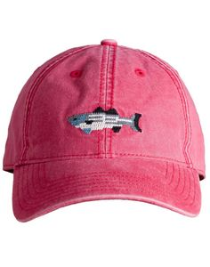 - Needlepoint embroidery of striped bass - 6 panel ball cap - Deep fitting and pre-washed - 100% Cotton - White sailcloth adjustable back strap with brass clasp