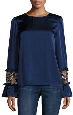 Suno Long-Sleeve Silk Satin Blouse, Navy