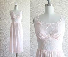 60s Light Pink Slip / Lingerie / Lace / Chiffon / by Liyasvintage, $26.00
