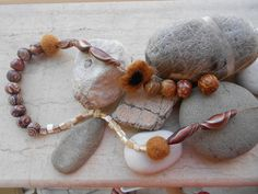 Necklace with handmade polymer clay and felted beads by katerina66, via Flickr