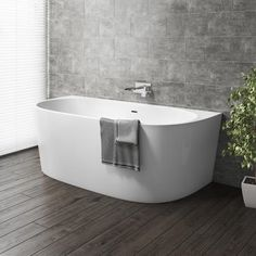 Buy Gable Modern Back To Wall Freestanding Bath - 1700 x 800 x from Appliances Direct - the UK's leading online appliance specialist Bathroom Renos, Bathroom Layout, Bathroom Interior Design, Family Bathroom, Modern Bathroom, Small Bathroom, Bathroom Tubs, Back To Wall Bath, Bath Uk