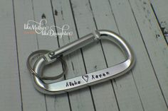 Personalized Men's Hand Stamped Aluminum Carabiner- Personalized For Him - Carabiner Keychain - Key Chain - Boyfriend Gift - Couples Gift - Christmas gift for him - gift for the rock climber