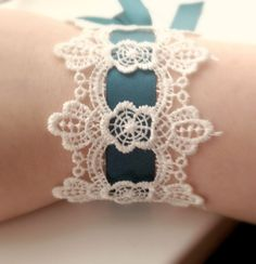 Downton Abbey Lace Bracelet lace cuff lace by HouseOfGlitter2