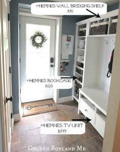 IKEA Hemnes line: tv unit, bookcase, and wall bridging shelves combined. Fake built-in for mudroom.