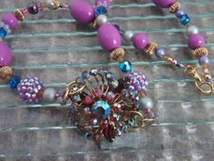 Chunky Purple Necklace Chunky Gold Necklace Assemblage by mscenna, $20.00