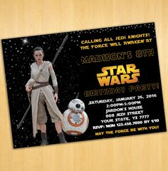 Star Wars Birthday Party 7th Invitations Kids Rey Bb8