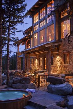 This two-story contemporary mountain home was designed in 2016 by Vertical Arts Architecture, located in Steamboat Springs, Colorado. Cabin Homes, Log Homes, Wood Houses, Rustic Houses, Barn Houses, Rustic Cottage, Appartement Design, Timber House, Mountain Homes