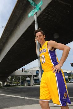 Steve Nash on Nash Street in El Segundo as he's introduced as one of the Los Angeles Lakers