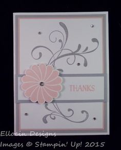 Simple flourish thank you card made with Everything Eleanor, Crazy About You, and Tin of Cards stamp sets from Stampin' Up!
