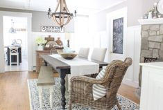 Wicker Chairs / Gorgeous Wicker chairs for every room in your home and wicker chairs to add texture to the decor in your home. Decor, Farmhouse Dining Room Rug, Wicker Dining Chairs, Dining Rug, Dining, Room, Dining Room Table, Dining Room Decor, Rooms For Rent