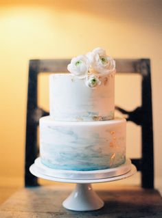 Vintage Elegant Swedish Wedding Inspiration - Photography: 2 Brides Photography / Isabelle Hesselberg – Read More on SMP: stylemep - 2 Tier Wedding Cakes, Painted Wedding Cake, Cool Wedding Cakes, Elegant Wedding Cakes, Elegant Cakes, Wedding Cake Designs, Wedding Cake Toppers, Beach Wedding Cakes, Buttercream Wedding Cake