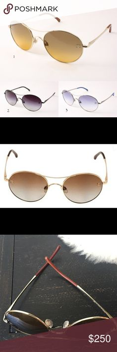 Chanel John Lennon style glasses 4190TQ style These Chanel sunglasses are a few years old but only worn 2-3 times. Frame is gold color & leather finish by ears. Shades are a slightly ombré brown. With box, insert and case. Bought at Sunglass Hut. CHANEL Accessories Sunglasses