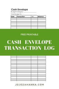 Free Transaction log for cash envelope system Dave Ramsey Envelope System, Envelope Budget System, Cash Envelope System, Budget Envelopes, Cash Envelopes, Budgeting System, Budgeting Tips, Spending Tracker, Tracker Free