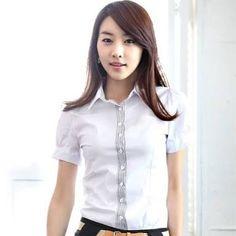Resultado de imagen para blusas branca Office Uniform, Summer Coats, Buying Wholesale, I Dress, Coats For Women, Satin, Blouse, Stuff To Buy, Shirts