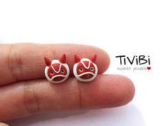 Princess Mononoke stud earrings by tivibi on DeviantArt