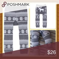 Holiday Moose Cozy Knit Leggings Coming Soon These adorable leggings have a cute moose in the bum. Constructed with a generous cut to fit over a cloth diaper. Reinforced seams. Available in S( fits 3-12 mo), M( fits 12-18 mo), L( fits 18 mo- 2 1/2 yrs. comes to you in its original sealed packaging. More pics upon arrival. sandystarfish Bottoms Leggings