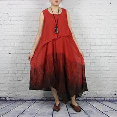 Women print summer vest tencel dress