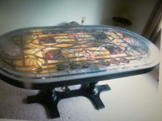 ANTIQUE STAINED GLASS DINING ROOM TABLE