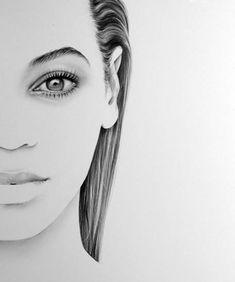 Beyonce Minimalism Original Pencil Drawing Fine Art Portrait