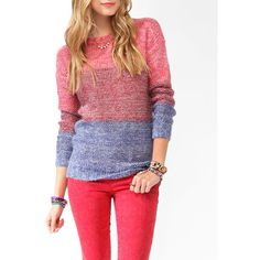FOREVER 21 Tri-Color Dropped Shoulder Sweater ($25) ❤ liked on Polyvore